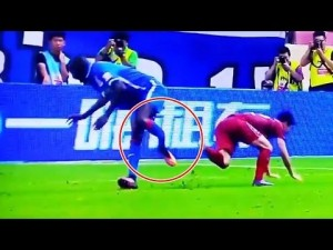 Demba breaks his leg after a tangle with Sun Xiang